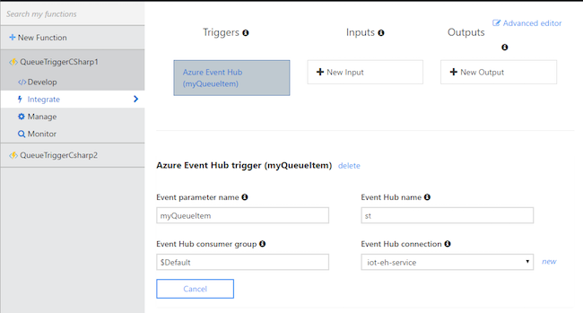 Azure Functions - Trigger configuration